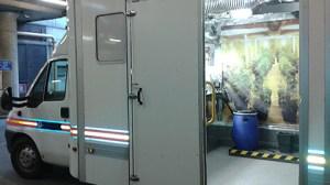 """Cannabis farm"" police vehicle. Pic: Kate Southern"