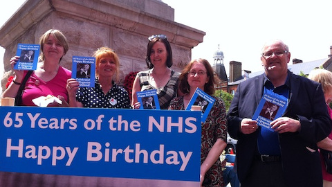 Celebrating 65 years of the NHS in Lewisham: (left to right) Dr. Louise Irvine, chair of Save Lewisham Hospital; Jill Mountford, Save Lewisham Hospital; Vicky Foxcroft, chair of Lewisham Labour Group; Anita Downs, UNITE union rep Lewisham Hospital; and Phil Rose, UNITE Health Campaign Officer London and Neasden. Pic: Bill Konos