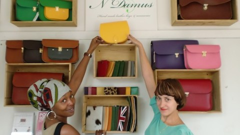 N'Damus has popped-up in an old Victorian ticket office  (l-r)Nneka Onyenakala and Adelaida Ospina Photo: Bill Konos