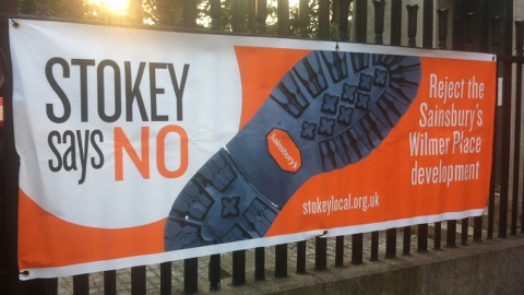 Stokey Local campaign banner. Photo: Hackney Planning Watch.