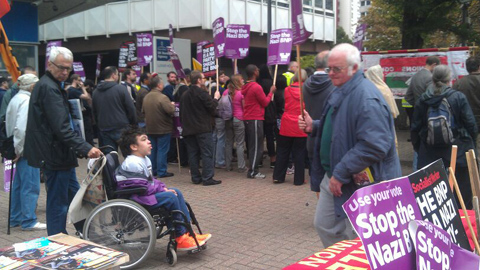 Members of the counter-demonstration outside Lunar House. Pic: Courtney Greatrex