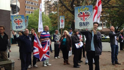 BNP protesters on site. Pic: Emmet Simpson