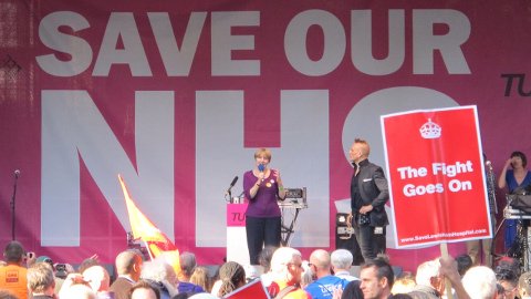 Save Lewisham Hospital Campaign chair Louise Irvine on stage at the Manchester NHS march. Pic: Save Lewisham Hospital Campaign