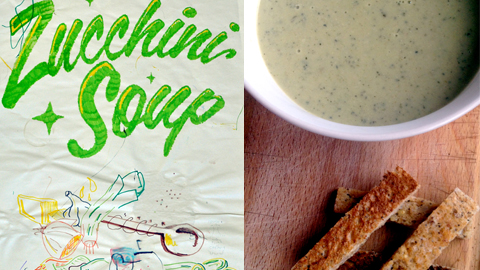 Zucchini soup - drawing by Matthew and Cosmo McGuinness of Gourmandizing London.