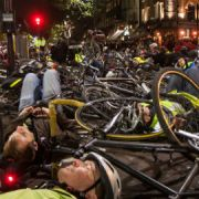 Cyclists gather outside TfL headquarters Pic: Nicolas Chinardet