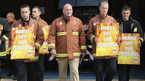 Firefighters strike over pensions. Pic: FBU