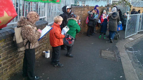 Children monitoring pupils journeys. Pic: Rockmount Primary School