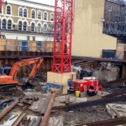 Work underway at the Travelodge site Pic: Laura Rapheal