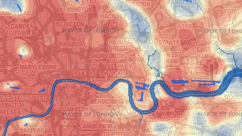 Heat map of London. Pic: Greater London Authority