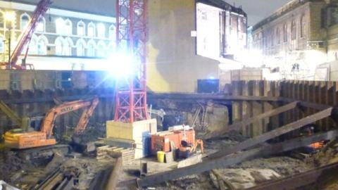 A construction site where the Raw Duck restaurant stood. Pic: Josh Spiro.