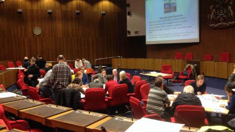 Lewisham cyclists discuss proposals Pic: Radu Istrate