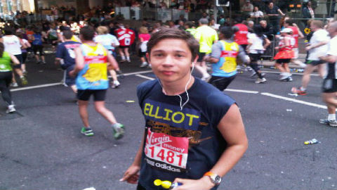 Elliot during the 2012 London Marathon Photo: Josh Goodman
