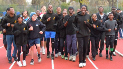 S-Factor Academy athletes training with Olympic silver medalist Christine Ohuruogu Photo: Ray Miller-Davis