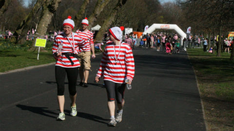 A group of Wallies having crossed the finish line in Victoria Park