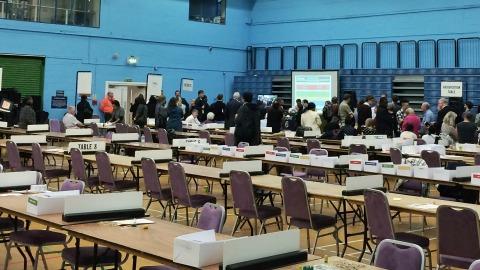 The near empty ballot hall at the Britannia Leisure Center. Photo: Weidong Lin