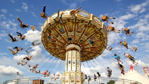 Festival goers enjoying one of many rides at the festival.
