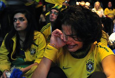 Tearful Brazilian fans Pic: Marcello Casal Jr