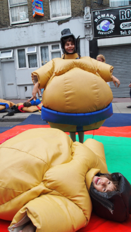 The sumo wrestling went down well with younger festival-goers Pic: Kajal Odedra