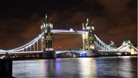 Tower Bridge is lit up to celebrate the Invictus Games. Pic: Hilary Meredith