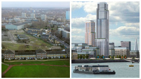 Convoys Wharf development in Deptford. Left: a view from Daubeney Tower. Right: the proposal by Hong Kong-based developer Hutchinson Whampoa. Pics: Wikimedia Commons; Hutchinson Whampoa.