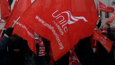 Unite banner at Victory Rally at St. Mungo's. Pic: Jacqui Agate