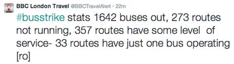 Bus Strike Statistics tweeted by @BBCTravelAlert.