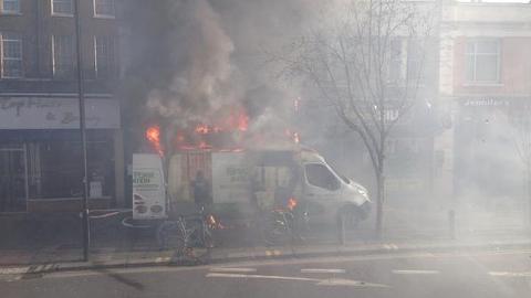 A van caught fire in Hackney. Pic: Twitter/@joannae