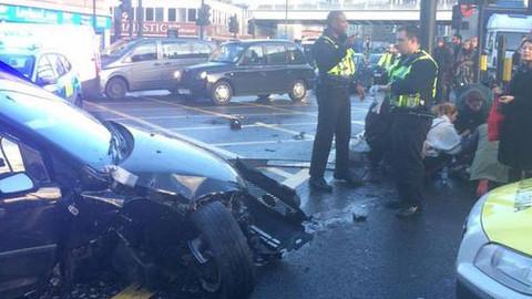 The scene of the crash at Shoreditch High Street. Pic: Twitter/@DJAFrankenstein.