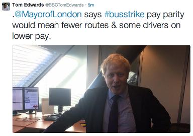 BBC's Tom Edwards tweeted Mayor of London's response to bus strike, @BBCTomEdwards.