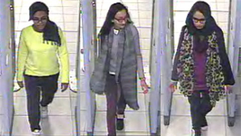 CCTV image of Amira Abase, Kadiza Sultana and Shamima Belgum (left to right). Pic: Metropolitan Police