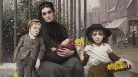 """""""The Pinch of Poverty"""" (detail). Painting by Thomas Benjamin Kennington. Pic: Geffrye Museum"""