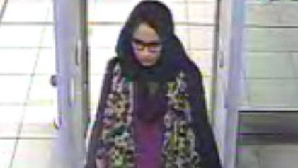 Shamima Begum at the airport. Pic: Met Police
