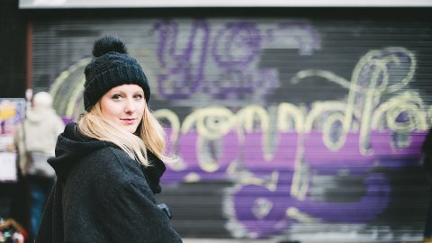 Member of Femme Fierce when the mural was in progress. Pic: Alex Wallace