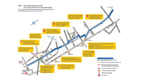 Part of the newly proposed Cycle Superhighway in Hackney. Pic: ©Transport for London