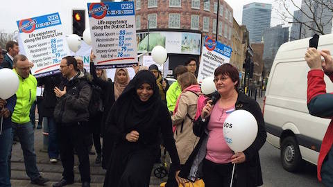 """The Limehouse Practice said it would be """"unsustainable"""" to remain open in light of the withdrawal of the MPIG fund Pic: Patients and GPs have protested against the NHS funding cuts that could lead to the closure of The Limehouse Practice Pic: Keep Our NHS Public campaign"""