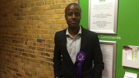 Taiwo Adewuyi, Christian Peoples Alliance Hackney candidate for South and Shoreditch. Pic: Lindsay Crocket