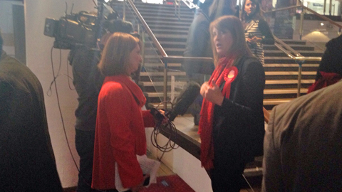 Labour candidate Sarah Jones speaks to the press after her defeat in Croydon Central this morning
