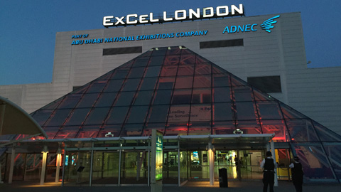 Police gather outside the ExCeL London centre before the count begins. Pic: David Blood
