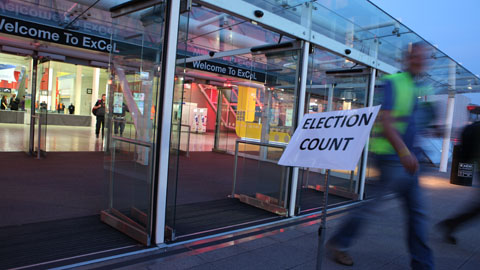 Outside the ExCeL Centre where the election count will take place. Pic: Kara Fox