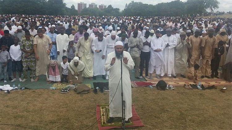 Imam Shakeel Begg of Lewisham Islamic Centre leads prayers in London. Pic: Lewisham Islamic Centre