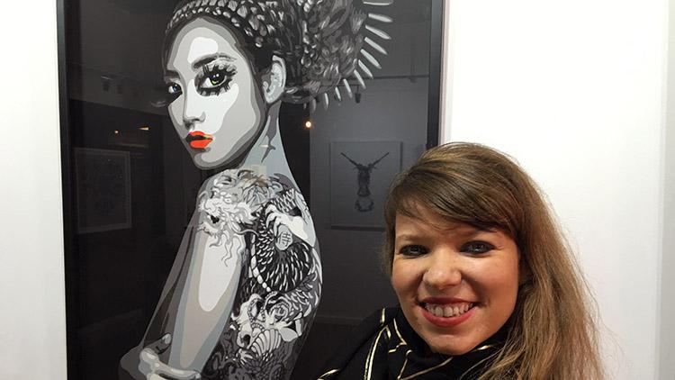 Juliette Clovis at her art exhibition in Croydon