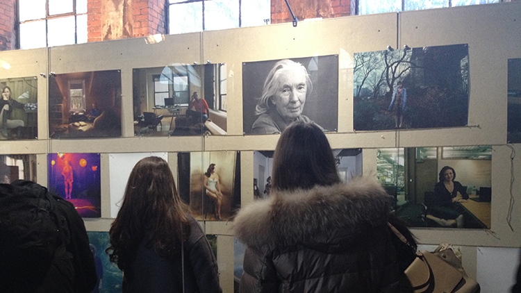 Visitors viewing Annie Leibovitz's Women: New Portraits exhibition at Wapping Hydraulic Power Station. Pic: Andrea Polanco