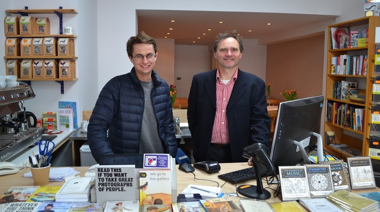 Sam Fisher and Jason Burley at independent bookshop. Pic: Sian Filcher