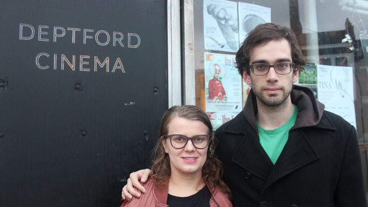 Volunteers Adriana Kytkova and Franck Magennis outside Deptford Cinema. Pic: Eir Nolsoe