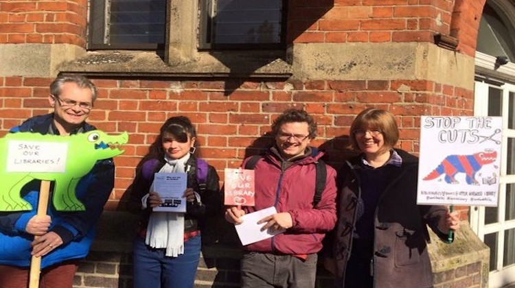 Gibson (far left) campaigning for Upper Norwood Library. Credit: Crystal Palace Transition Town