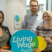 From L-R: Lola McEvoy, communications and campaigns manager at the Living Wage Foundation; Lewisham Council member Joe Dromey; Jane Powell, deputy Warden at Goldsmiths. Credit: Goldsmiths University