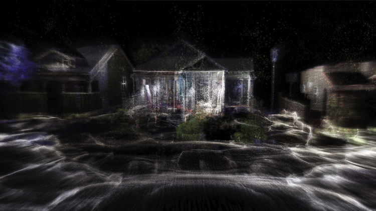 LiDAR technology used in the last sequence of the film. Pic, Patrick Hough, 2017. Courtesy of Jerwood; FVU Awards
