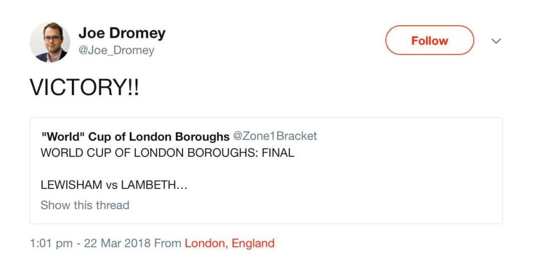 Cllr Joe Dromey's response to the Lewisham win