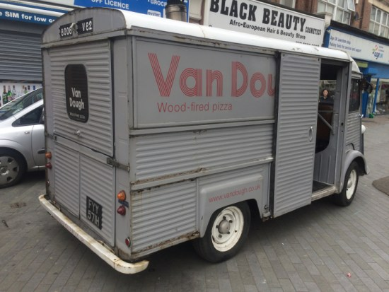 Van Dough, a business that makes sourdough pizza from a converted fan, at Catford Food Market. Pic: William Taylor-Gammon