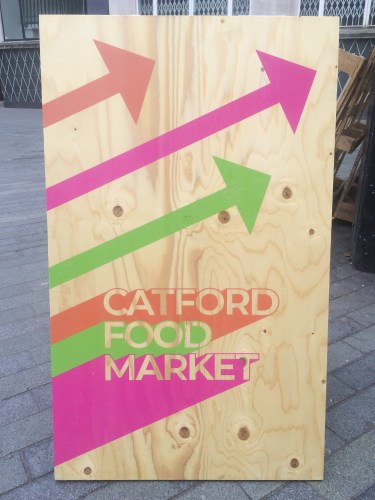 A sign at Catford Food Market. Pic: William Taylor-Gammon